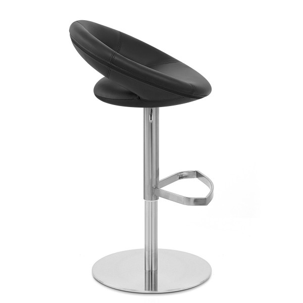 Chaise de Bar Cuir Chrome Brossé - Crescent Matelassé