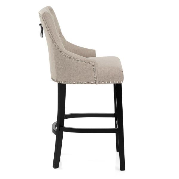 Chaise de Bar Bois Tissu - Ascot Taupe