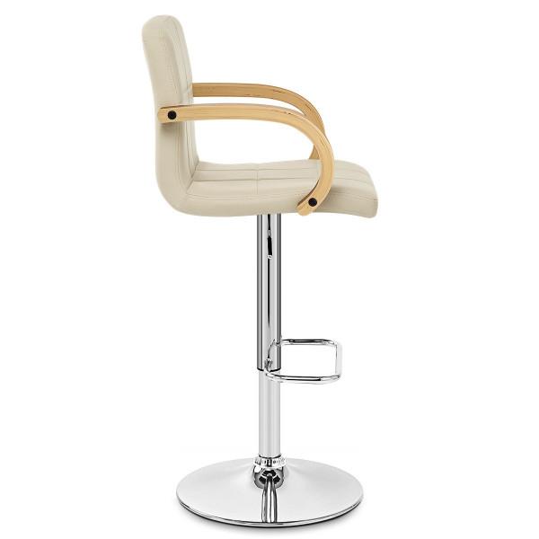 Chaise de Bar Faux Cuir Chrome - Burton Crème