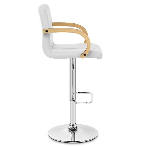 Chaise de Bar Faux Cuir Chrome - Burton Blanc