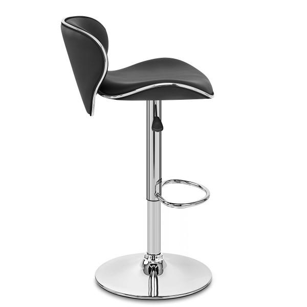 Chaise de Bar Faux Cuir Chrome - Félix Noir