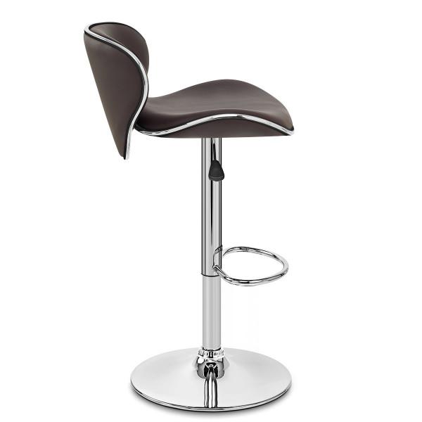 Chaise de Bar Faux Cuir Chrome - Félix Marron