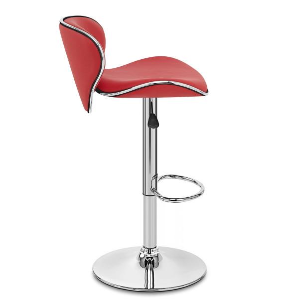 Chaise de Bar Faux Cuir Chrome - Félix Rouge