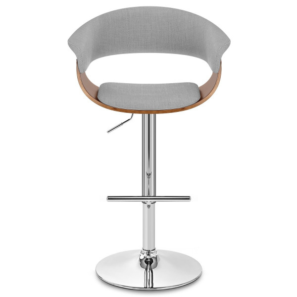 Chaise de Bar Bois Tissu - Grafton Gris