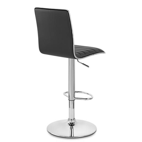 Chaise de Bar Faux Cuir Chrome - Hiline Noir