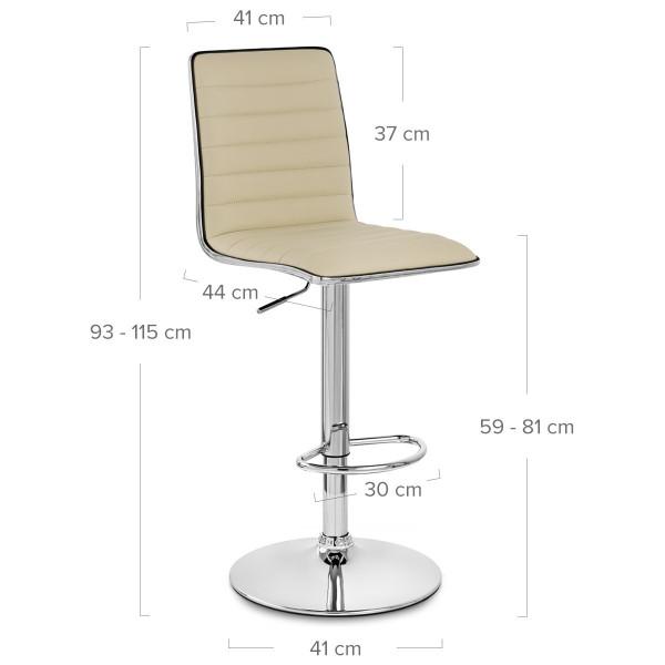 Chaise de Bar Faux Cuir Chrome - Hiline Crème