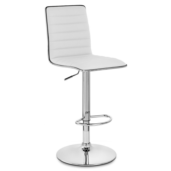Chaise de Bar Faux Cuir Chrome - Hiline Blanc