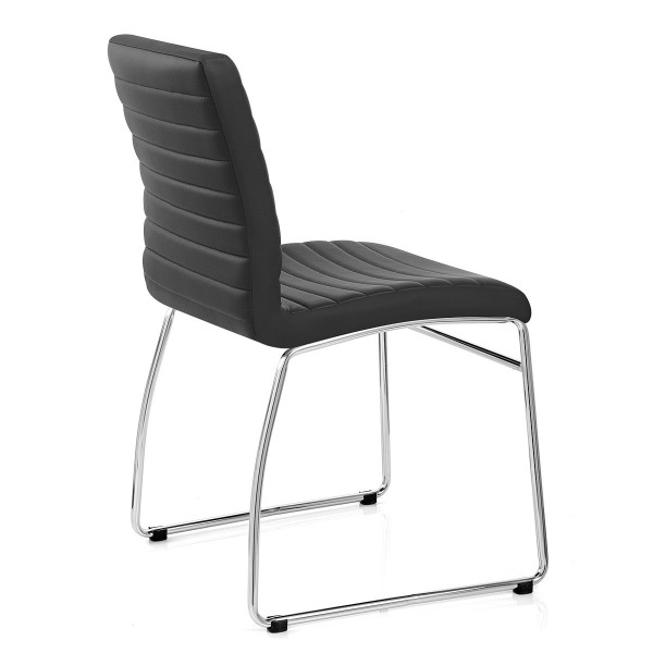 Chaise Faux Cuir Chrome - Panache Noir