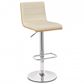 Chaise de bar Faux Cuir Bois Chrome - Riviera