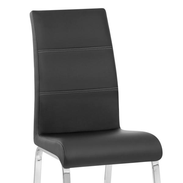 Chaise Faux Cuir Chrome - Sherman Noir