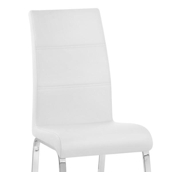 Chaise Faux Cuir Chrome - Sherman Blanc