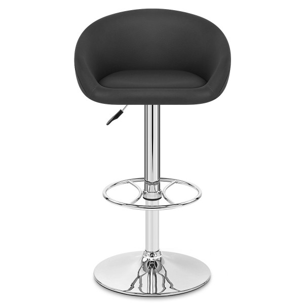 Chaise de Bar Cuir Chrome - Zenith Noir