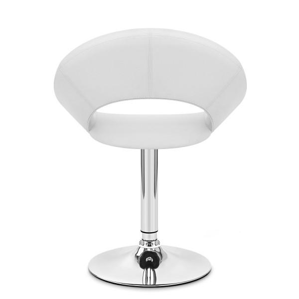 Chaise Faux Cuir Chrome - Clémentine Blanc