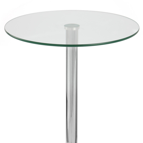 Table de Bar Chrome - Vetro Ronde Verre Transparent