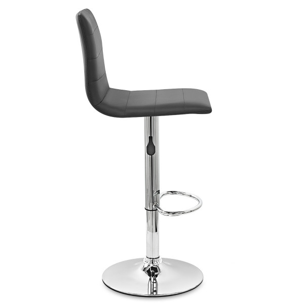 Chaise de Bar Cuir Chrome - Fabio Noir