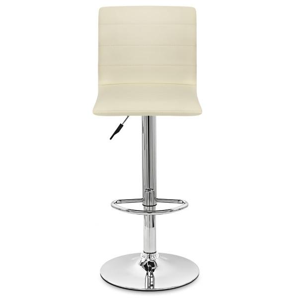 Chaise de Bar Cuir Chrome - Fabio Crème