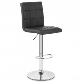 Chaise de Bar Faux Cuir Chrome - Criss Cross