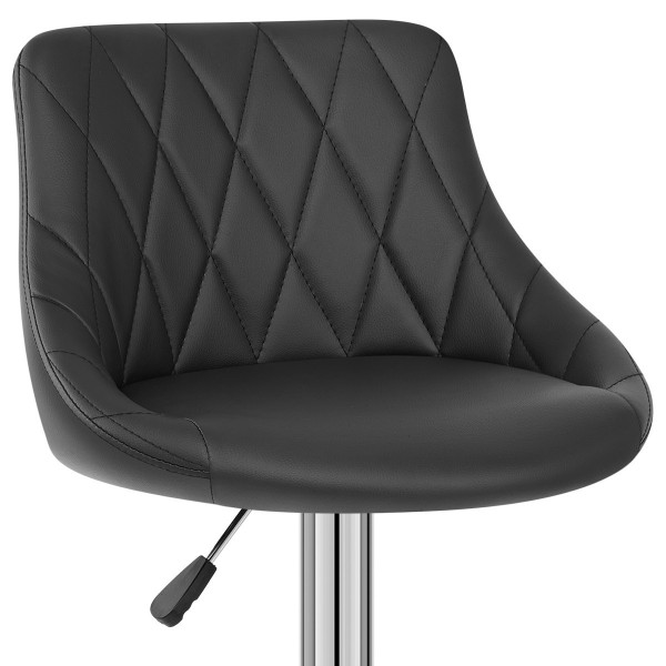 Chaise de Bar Faux Cuir - Stitch Noir