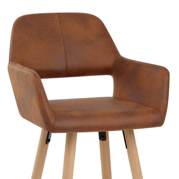 Chaise de Bar Bois Faux Cuir Antique - Kite Marron