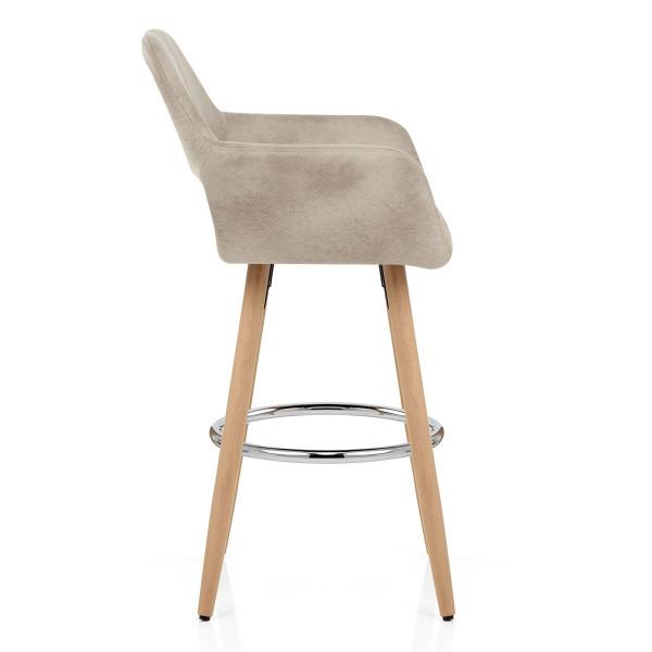 Chaise de Bar Bois Faux Cuir Antique - Kite Crème