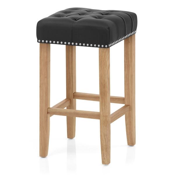 Chaise de Bar Cuir Crouté Bois - Chelsea Noir