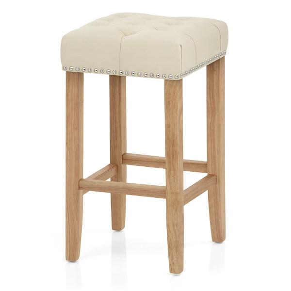 Chaise de Bar Cuir Crouté Bois - Chelsea Crème
