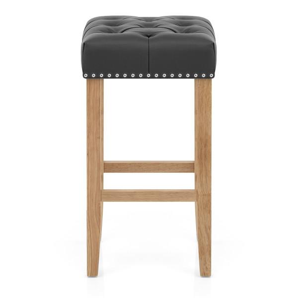 Chaise de Bar Cuir Crouté Bois - Chelsea Gris