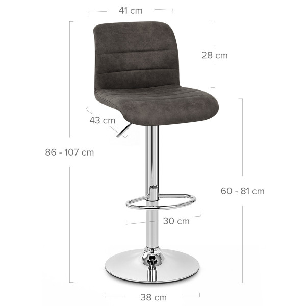 Chaise de bar faux daim - Destiny Noir