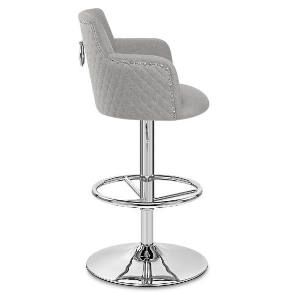 Chaise de bar Tissu Chrome - Vogue Gris