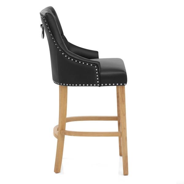 Chaise de bar Cuir Crouté Chêne - Ascot Noir