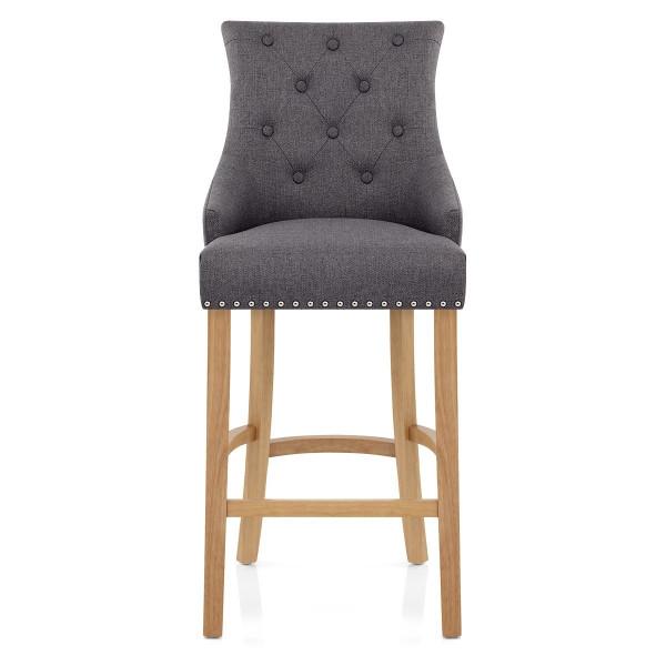 Chaise de Bar Chêne Tissu - Ascot Gris Foncé