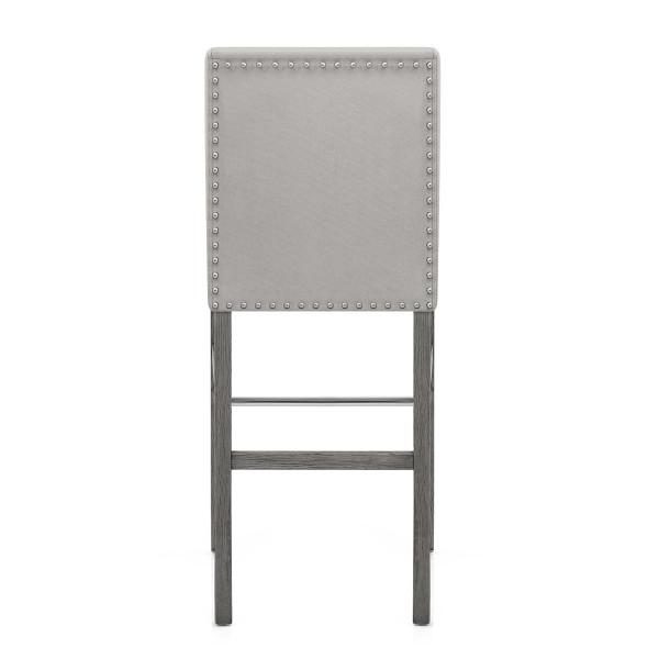 Chaise de Bar Bois Velours - Brunswick Gris