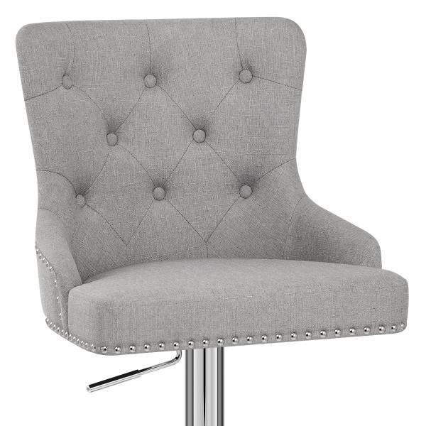 Chaise de Bar Tissu Chrome - Manor Gris
