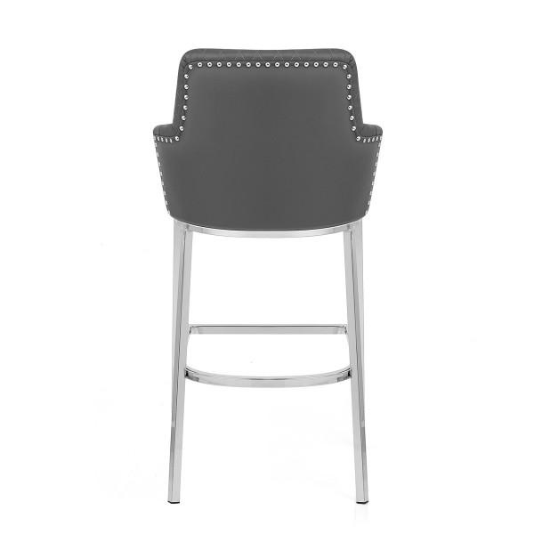 Chaise de Bar Chrome Faux Cuir - Arden Gris