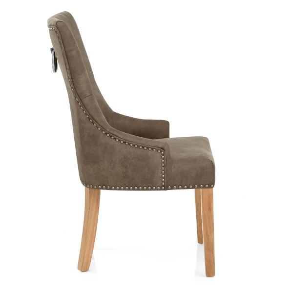 Chaise Chêne Faux Cuir - Ascot Antique Marron