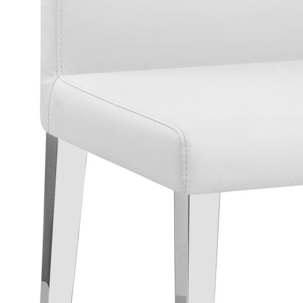 Chaise Faux Cuir Chrome - Dash Blanc