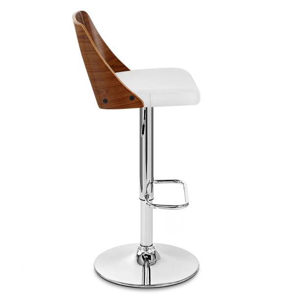 Chaise de Bar Bois Chrome - Carmen Blanc