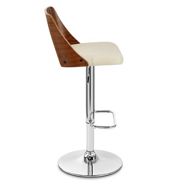 Chaise de Bar Bois Chrome - Carmen Crème