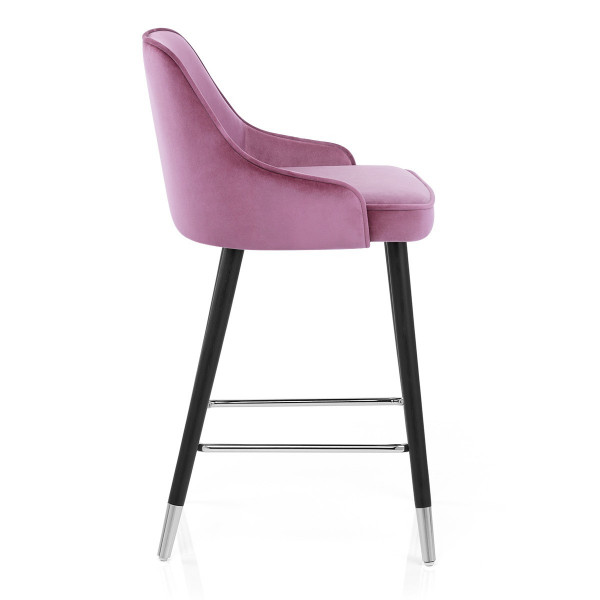 Chaise de Bar Bois Velours - Glam Rose