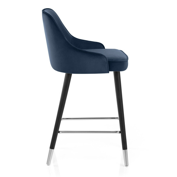Chaise de Bar Bois Velours - Glam Bleu
