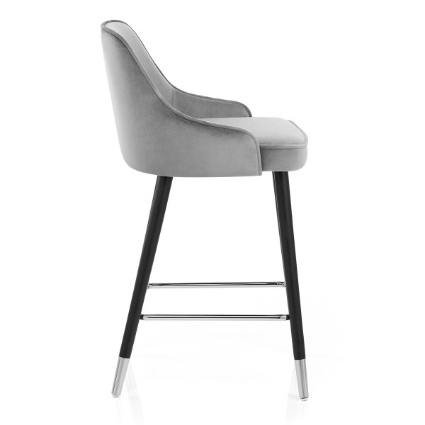 Chaise de Bar Bois Velours - Glam Gris