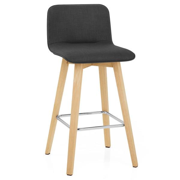 Chaise de Bar Chêne Tissu - Tide Noir