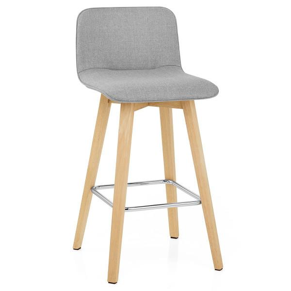 Chaise de Bar Chêne Tissu - Tide Gris