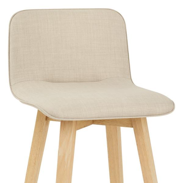 Chaise de Bar Chêne Tissu - Tide Crème