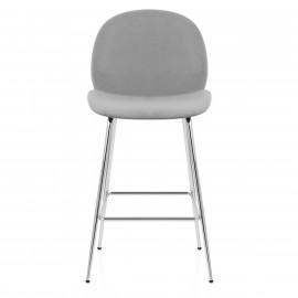 Chaise de Bar Chrome Velours - Bella
