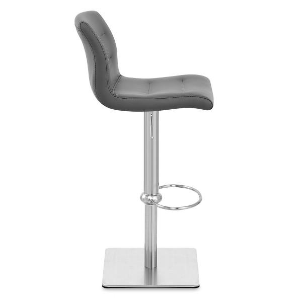 Chaise de Bar Cuir Chrome Brossé - Paradis Deluxe Gris
