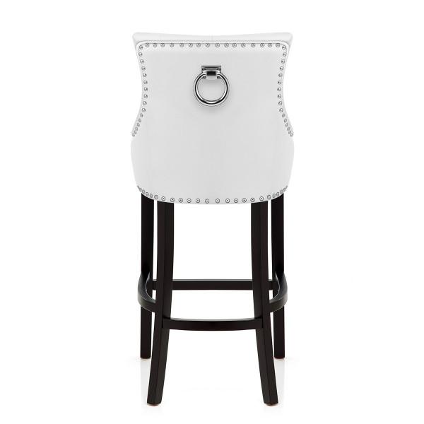 Chaise de Bar Bois Cuir Croûté - Ascot Blanc