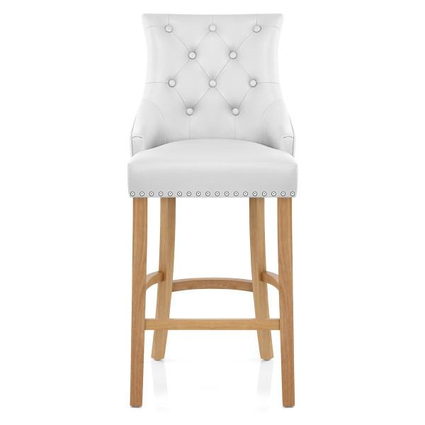 Chaise de bar Cuir Crouté Chêne - Ascot Blanc