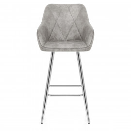 Chaise de bar Daim Chrome - Mason