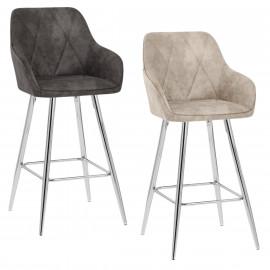 Chaise de Bar Faux Cuir Chrome - Mason